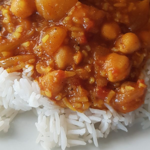 potato and chickpea curry with rice