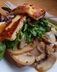 haloumi and mushrooms