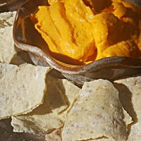 sweet potato dip with Italian crispbread